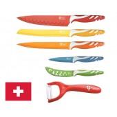 Set de 5 couteaux inox colorés recouverts de céramique + économe